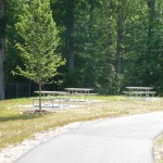 picnic tables on the paved trail